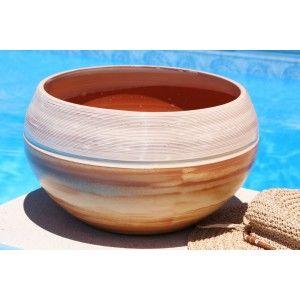 Clair de Terre Nuage d'Encens - Poterie en terre cuite émaillée forme pot rond Ø30 x 19 cm