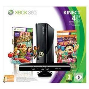 Microsoft Xbox 360 Slim 4 Go Pack Kinect Adventures + Carnival : Bouge ton Corps ! + Xbox Live 3 mois - La console, le capteur, les 2 jeux, l'abonnement