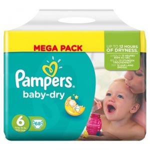 Pampers Baby Dry taille 6 Extra Large + 15 kg - Mega Pack 68 couches