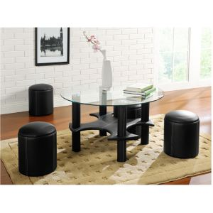 Table basse Mainstream avec 4 poufs en simili cuir