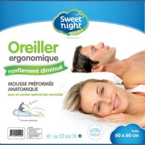 Oreiller ergonomique ronflement diminué SweetNight (60 x 60 cm)