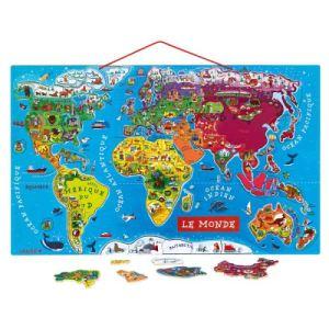 Janod Puzzle Le monde 92 pièces magnétiques