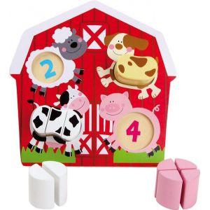 Legler Puzzle en bois pour apprendre à compter avec les animaux de la ferme