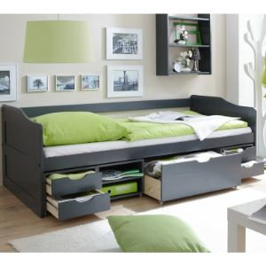 TICAA Canapé-lit à tiroirs Marlies en pin massif (90 x 200 cm)