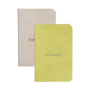 Rhodia 117205C Rhodiarama beige/anis - Lot de 2 carnets souples format 7 x 10,5 cm, 64 pages ligné