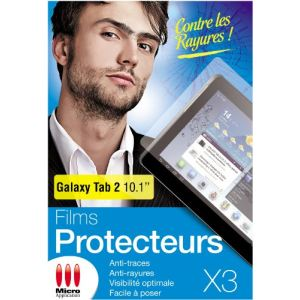Micro application 55191 - 3 Films de protection pour Galaxy Tab 2 10.1""
