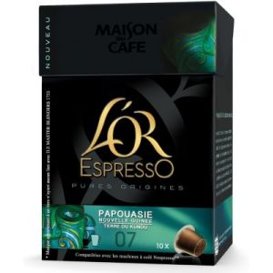 L'OR Espresso 10 capsules Pure Origine Papouasie (intensité 7)