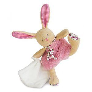 Babynat Doudou Les Poupis : Lapin rose avec mouchoir