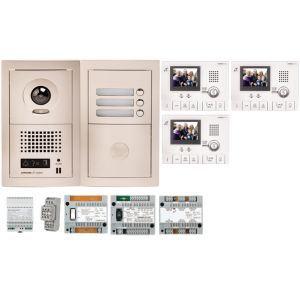 Aiphone GTV3E - Pack vidéo 3 BP avec 3 moniteurs GT1CL préprogrammés (200312)
