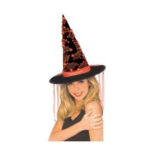 Chapeau sorcière motif chauve-souris avec fibre optique adulte Halloween