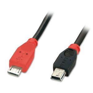 Lindy 31718 - Câble USB Micro-B/Mini-B OTG 1 m