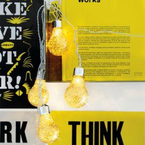 Blachère illumination Guirlande lumineuse ampoules pailletées dorées