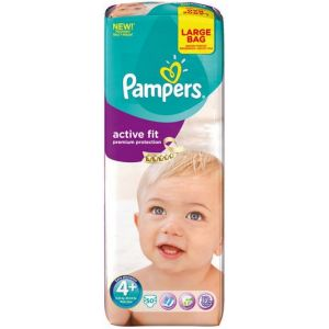 Pampers Active Fit taille 4+ Maxi+ (9-20 kg) - 50 couches