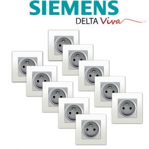 Siemens LOT 10 Prise 2P+T Silver Delta Viva + Plaque Blanc