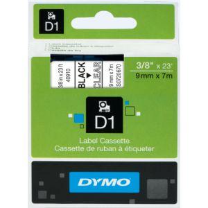 Dymo S0720670 - Ruban étiqueteuse D1 fond blanc écriture noire 9 mm x 7 m