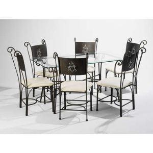 Table rectangulaire Café et 6 chaises