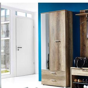 Armoire penderie Anna avec 2 portes et 2 tiroirs en bois