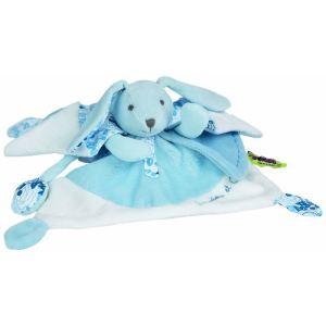 Doudou & cie Doudou Tatou Lapin Bleu Grande Modèle 25 cm