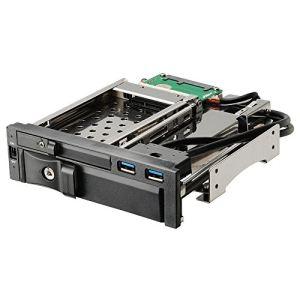 """Enermax EMK5201U3 - Rack sécurisé avec 2 ports USB 3.0 pour disque dur 3,5"""" et 2.5"""" SATA I,II,III & SAS dans baie 5,25"""" (SSD ou HDD)"""