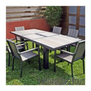 Garden Green Table de jardin rectangulaire New York en aluminium et bois composite 160/220 x 100 x 75 cm