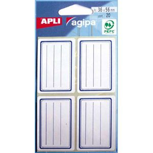 Agipa Boîte de 20 étiquettes scolaires 36 x 56 mm