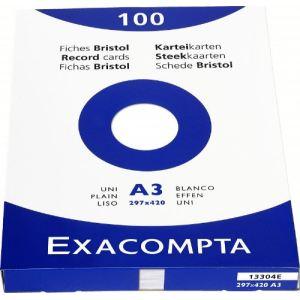 Exacompta 13304E - Etui de 100 fiches bristol 205 g uni non perforées (A3)