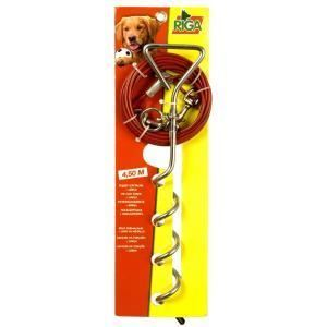Riga 002724 - Piquet d'attache avec câble 4,5 m pour chien