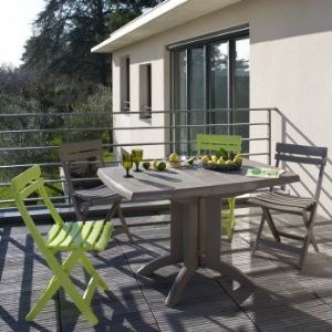 Grosfillex Vega - Table de jardin rectangulaire pliante en résine 118 x 77 x 72 cm