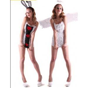 Déguisement réversible ange et lapin (taille au choix)