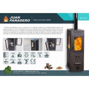 Juan Panadero Mars - Poêle d'angle polycombustible (bois et granulés) 11,5 kw
