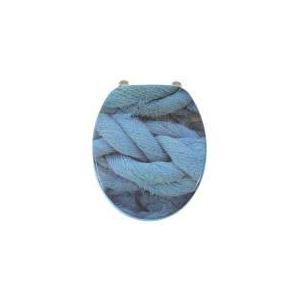 Gilac Abattant de toilette Moove Cordage déco en bois MDF charnière inox lunette WC standard
