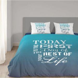 Good Morning Today - Housse de couette et 2 taies 100% coton (220 x 240 cm)