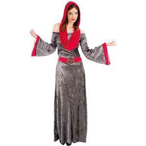 Chaks Robe sorcière grise à capuche adulte