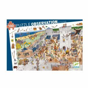 Djeco Puzzle jeu d'observation Château fort + Poster 100 pièces