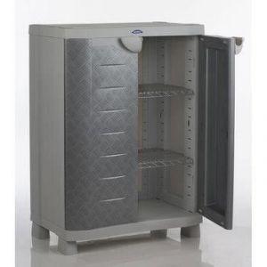 Plastiken 96070 - Armoire de Rangement Basse 2 Portes