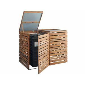 Jardipolys Cache poubelle double en bois haut.: 116 cm - DUO LIGN Z - BURGER