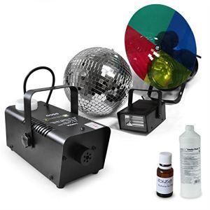 """Electronic-Star Set lumière festif """"Deneb"""" : Stroboscope + machine à brouillard + Boule disco 20cm + Stroboscope"""