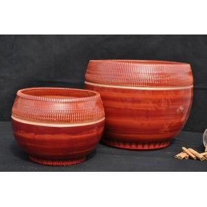 Clair de Terre Hoya - Poterie en terre cuite émaillée forme boule Ø20 x 17 cm