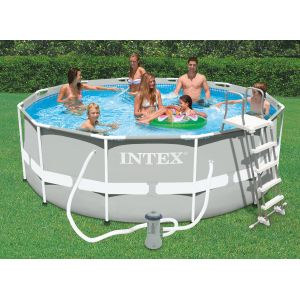 Intex 28226fr piscine hors sol tubulaire ronde metal for Piscine tubulaire intex castorama
