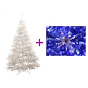 Sapin de Noël blanc avec guirlande bleue LED clignotantes