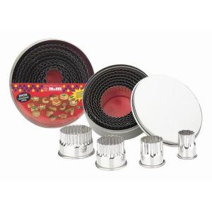 Ibili 703400 - 11 pièces d'emporte-pièces arrondi dentelé en inox