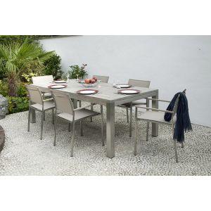 Medicis France Vintage - Table de jardin rectangulaire avec pieds inox 200 x 100 cm