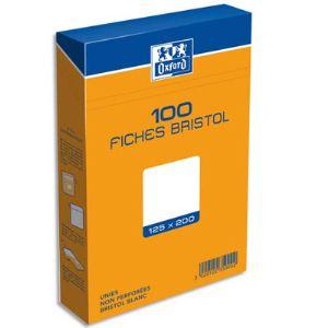 Oxford Boîte de 100 fiches bristol 224 g uni non perforées (125 x 200 mm)