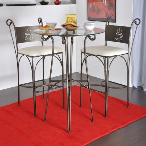 Table haute ronde en verre Gringo
