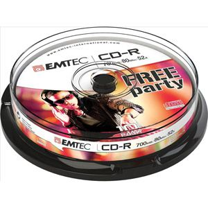 Emtec ECOC801052CB - Pack de 10 CD-R 700 Mo 52x Cake Box