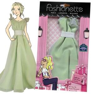 """Fashionette Look """"Pippa"""" : Robe longue ample vert argenté pour Barbie, Steffi, Disney Princesse et Pulipp"""