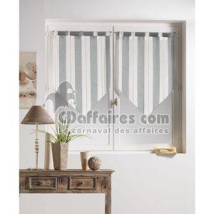 Helios - Voilage fenêtre de cuisine pompon 60 x 120 cm