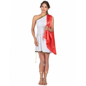 Déguisement déesse romaine robe rouge femme