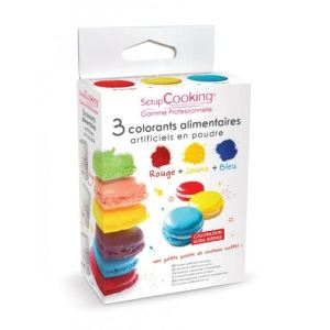 Scrapcooking 3 colorants alimentaires artificiels en poudre (rouge, jaune et bleu)