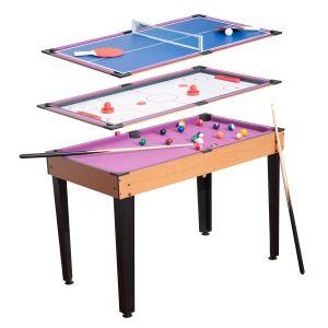 Homcom Mini table de jeux 3 en 1 multifonction (billard, hockey et ping pong)